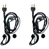 2 x SUNDELY® Clip-Ear Ear Hook Headset/Earpiece with PTT for Midland/Alan Radio GXT250 GXT1000 LXT112 LXT380 XT511 2-pin