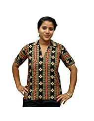 Odishabazaar Women's Black Cotton Printed Short Top Blouse