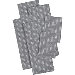 6 Piece Granite Napkin, (Set Of 6), Machine Washable, Solid Pattern, Casual And Contemporary Style, Dishtowels, Everyday Or Special Occasions, Cotton Material, Charcoal, Dark Grey