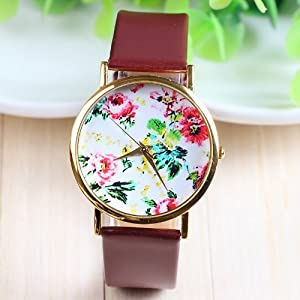 New Fashion Leather Geneva Rose Flower Dress Watches for Women 3 Colors (brown)