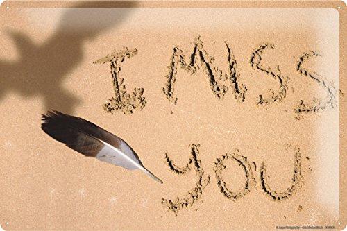 Blechschild Jorgensen Fotografie Foto Bilder Strand Schrift I MISS YOU Feder Schatten Möwe 20x30 cm