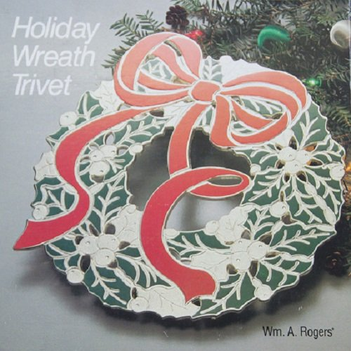 Holiday Wreath Trivet Wm a Rogers Festive Silverplated Red Green Enamel Decor
