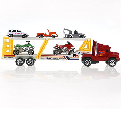 Fajiabao Kids Truck Trailer Toy Double-decker Bus with Digging Car and Cars Truck Model Toys for Boys 6 Pcs