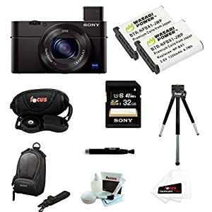 Sony DSC-RX100M III DSC-RX100M3 RX100M3 DSCRX100MIII RX100MIII Cyber-shot Digital Still Camera with Sony 32GB SDHC Class 10 Memory Card + Sony LCSCSUB LCS-CSUB Case (Black) + Two Wasabi Power Battery for Sony NP-BX1 + Deluxe Focus Accessory Pack