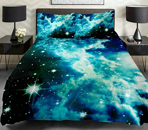 Anlye Cotton Galaxy Bedding Sets Blue Space Duvet Cover Cotton Blue Sheet Milky Way Bedding Sets Full (Tye Dye Bed Set Full compare prices)