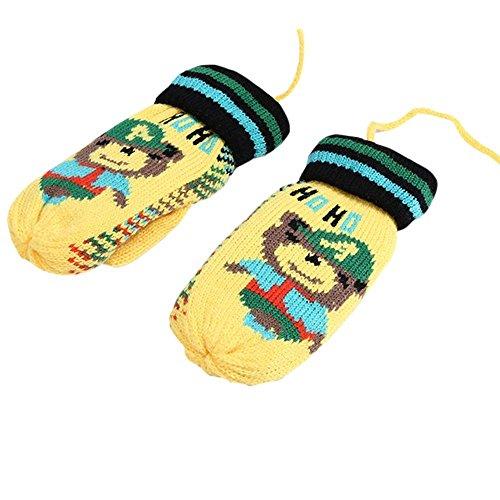 Ashdown Unisex Children Winter Gloves Woolen Knitted Mitten Christmas Gifts for Baby,Yellow