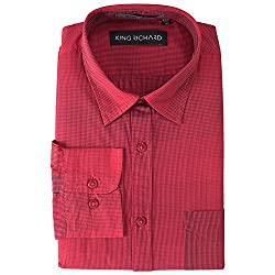 King Richard Men's Casual Shirt (KR_FS_Red,Red,40)
