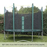 Premium Quality 10ft Trampoline Net (for use with trampolines with 8 enclosure poles). Highly durable. DOES NOT INCLUDE POLES, SLEEVES OR TRAMPOLINE.