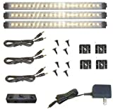 Under Cabinet Lighting 21 LED - 3 Panel Deluxe Kit, Warm White (Dimmer Optional, Sold Separately)