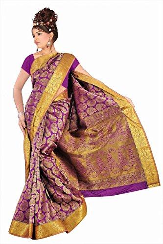 Varkala Silk Sarees Silk Full Brocade Saree (Gs4116P _Purple)