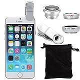 Kit de lente granangular XCSOURCE con clip de 180 grados, lente de ojo de pescado para el iPhone 4 4S 4G 5 5G 5S teléfono celular i9500 Samsung Galaxy S3 i9300 S4, color plata.