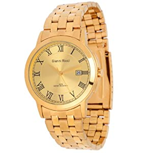 gianni ricci mens gold tone with 24ct gold