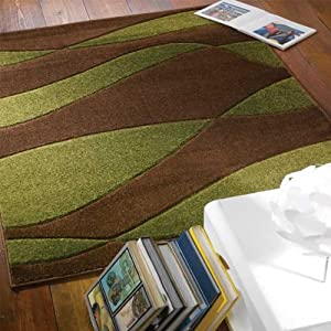 Flair Rugs Orleans Organza Hand Carved Rug, Brown/Green, 80 x 150 Cm from Flair Rugs