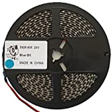 Smile Panda プロ仕様 強力粘着両面テープ 24V LEDテープ SMD 3528 600連 5m 青 ブルー 黒ベース 正面発光 ハンダ付不要 両端配線済 防水 IP65 切断可能