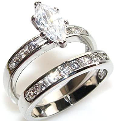 Ah! Jewellery Engraved Eye Catching Marquise Ring Set in Stainless Steel. Simulated Diamonds Running Down Each Side. Matching Wedding Band. Guaranteed Never To Tarnish. Stamped 316.