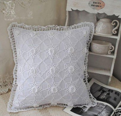 Vintage Hand 3D Crochet white Cushion/Pillow Cover