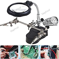 3.5X 12X Helping Hand Magnifier Magnifying Glasses Eye Gauge Lens Soldering Aid with LED Light Soldering Stand HHE-54150