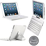 CoverBot iPad Mini Keyboard Case Station WHITE. Bluetooth Keyboard For 7.9 Inch New Mini iPad with IOS Commands. Folio Style Cover with 360 Degree Rotating Viewing Stand Feature