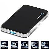 Estuche Sabrent USB 3.0 para   SATA Hard Drive de 2.5 pulgadas, 9.5mm, 12.5mm 2.5 pulgadas SATA-I, SATA-II, HDD y SSD, color negro