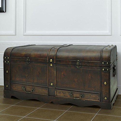 Large Wood Treasure Storage w/ Drawer Blanket Steamer Chest Vintage Coffee Table 5