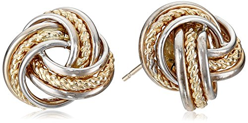 14k-Gold-Two-Tone-Polish-Rope-Love-Knot-Stud-Earring