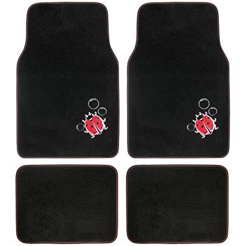 BDK Red LadyBug 4 Piece Front and Rear Carpet Car Auto Floor Mats (Disney Car Floor Mats compare prices)