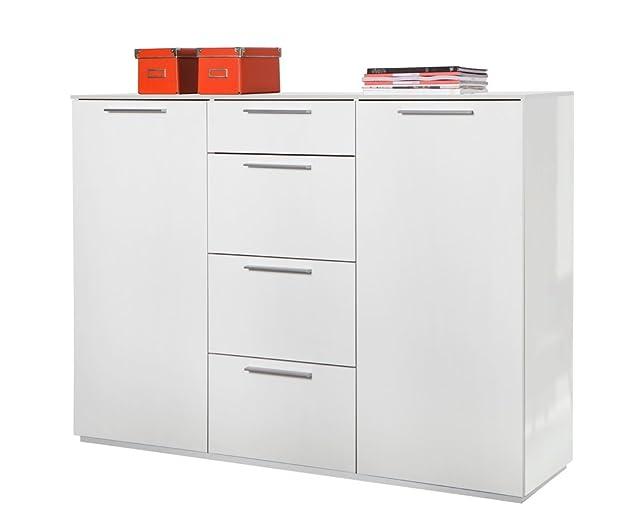 Base soggiorno a due ante con mensole regolabili e quattro cassetti laccato bianco lucido