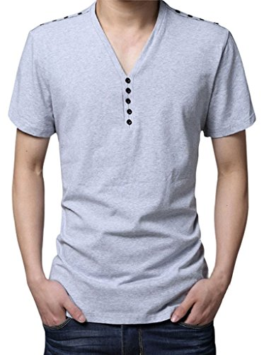 Gillbro Mens Henley T-shirt con manica corta Slim Fit bottoni, Bianco, 5XL