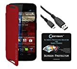 Chevron Flip Cover For Moto G 2nd Gen With Chevron HD Screen Guard & Data Cable (Red)