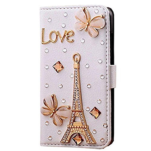 iPhone 6 Plus Case,HAOTP(TM) White Luxury 3D Bling Crystal Rhinestone Wallet Leather Purse Flip Card Pouch Stand Cover Case for apple iphone 6 Plus 5.5[inch](Love Eiffel tower)