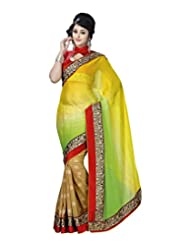 Alethia Multi Embroidered Pure Chiffon Saree With Unstitched Blouse Piece