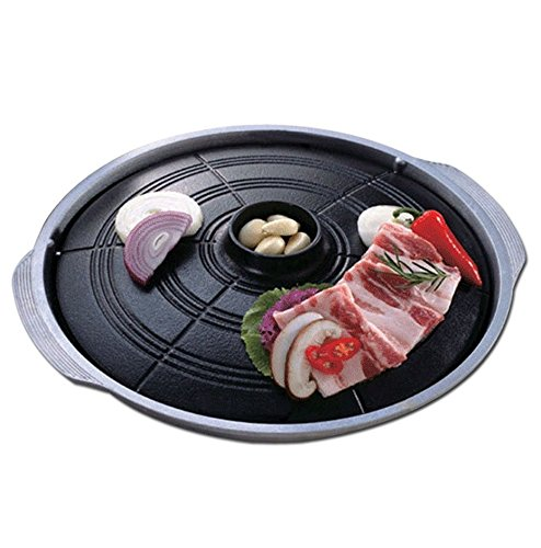 Gamasot Korean Traditional Black Caldron Lid Type BBQ Samgyupsal Table Grill Pan