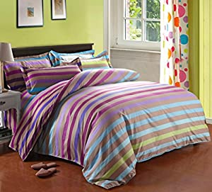 Cotton Blend Well Designed Colorful Stripe Pattern Duvet Cover Sets with Pillow Shams Full Queen Size