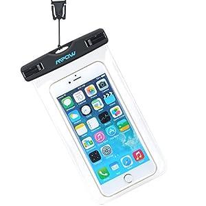 Mpow Funda Impermeable de iPhone 6s 6 5s Huawei P8 Lite Bq aquaris x5 Xiaomi, Bolsa IPX8 Certificado Impermeable Transparent para Movíl Universal de 6 Pulgadas