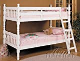 Twin Size Convertible Wooden Bunk Bed White Finish
