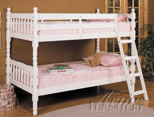 Rustic twin size convertible wooden bunk bed white finish for Cheap white twin bed