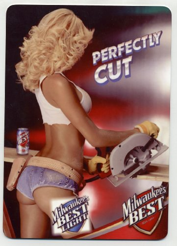 milwaukees-best-metal-counter-display-sign-sexy-carpenter