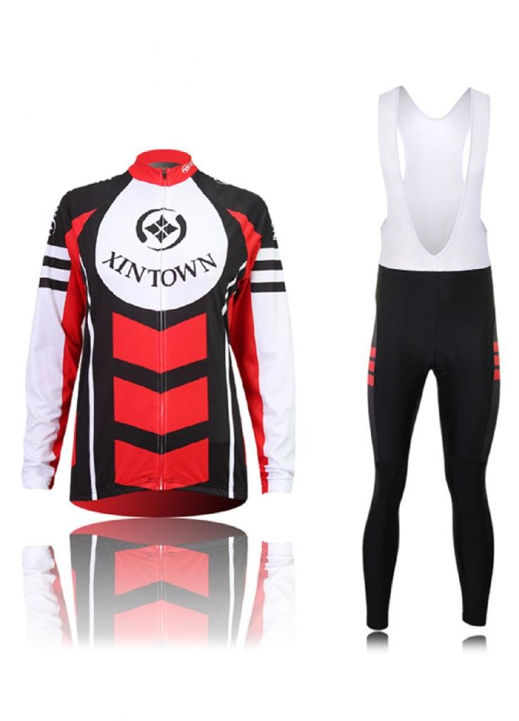 OUO Men Cycling Long Bib Jersey and Pant Long Set MTB Road Bicycle Riding Red santic men cycling jersey anti sweat road bike mtb cycling shirt pro downhill long sleeve cycling clothing bicycle sportwear