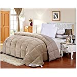 "Flannel Goose Down Alternative Comforter , Reversible, Siliconized 7D over-Filled Fiber, Hypoallergenic, Duvet Insert, Barrier on Dust Mites and Allergens ,Full/Queen, 86""Hx86""W"