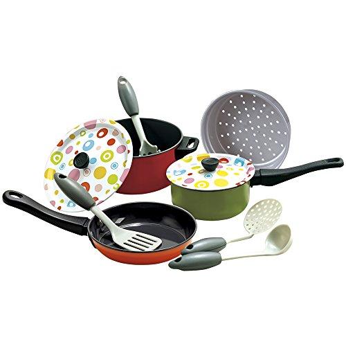 PlayGo - Set utensilios y cubertería metal, 10 piezas (Colorbaby 6955)