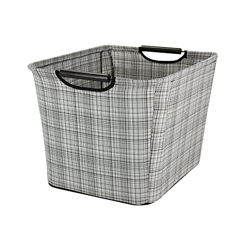 Household Essentials Tapered Storage Bin with Wood Handles, Medium, Gray Plaid (Household Essentials Gift compare prices)