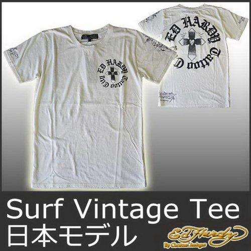(エド・ハーディー)ED HARDY JAPAN 半袖T サーフ クロス十字架&ラブキル/アイボリー EDHARDY エドハーディー 5251-S ドン エド・ハーディー メンズ Tシャツ Ed Hardy MENS Surf Vintage Addicted Cross Tee M02SVA548