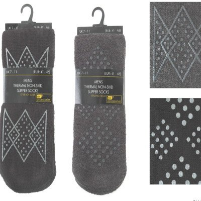 4 PAIRS MENS THERMAL NON SKID SLIPPER SOCKS SIZE 7-11