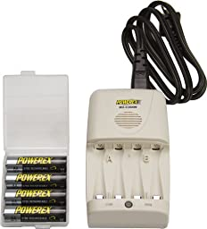 Maha Powerex MH-C204W Rapid Battery Charger + 4 AA 2700mAh NimH Rechargeable Batteries - Works worldwide