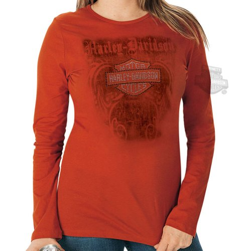 Harley-Davidson Womens Shield Tribal Studs Orange Long Sleeve T-Shirt