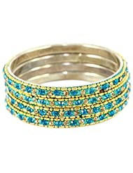 Set Of Shining Golden And Derk Sky Blue Bangles, Perfect For Formal As Well As Informal Occasions