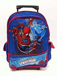 Avengers Summer Combo - Amazing Spider Man Large Rolling Backpack and Iron Man Large Backpack with Free Wallet Set