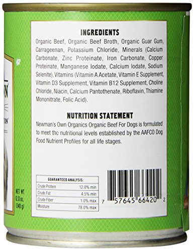 Newman's Own Organics Beef Grain-Free for Dogs, 12-Ounce Cans (Pack of 12)_Image5