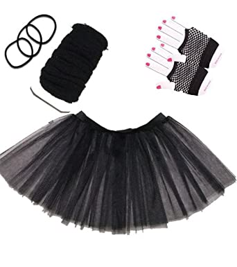 4 Piece Fancy Dress Set, Tutu + Leg Warmers + Short Fish Net Gloves + Gummy Bands (Black)