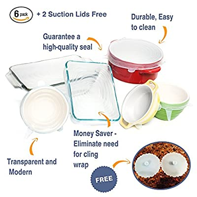 Multi Size 6 Silicone Lids Food and Bowl Covers - Reusable Stretch Lids Cover Wrap for Cans, Containers, Mugs, Mason Jars and Bowls - Perfect Baking and Cooking Kitchen Gadgets✮ 2 Free Suction Lids ✮